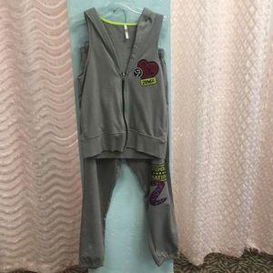Gray Zumba Vest & Sweatpants Sweatsuit